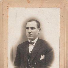 Fotografía antigua: ANTIGUA FOTOGRAFÍA RETRATO HOMBRE JOVEN FOTO FRANCISCO GORRIZ BURRIANA CASTELLÓN S XIX CC. Lote 105996711