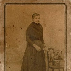 Fotografía antigua: FTO. C.V. RETRATO DE SEÑORITA DEDICADO A SU MADRE. CA.1895. FOT. BARTOLOMÉ MARCO. VALENCIA.. Lote 107303555