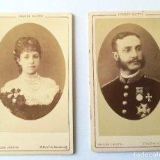 Fotografía antigua: 2 CDV REY ALFONSO XII ESPAÑA 1883 Y REINA MARIA CRISTINA DE HABSBURGO 1886 FOT. JACOTIN. Lote 107429279