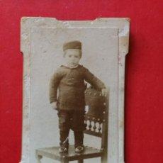 Fotografía antigua: ANTIGUA FOTOGRAFÍA. CARTA DE VISITA. NIÑO. FOTÓGRAFO SÁNCHEZ. CASTELLÓN. FOTO.. Lote 109458291
