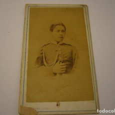 Fotografía antigua: FOTO DE MILITAR DEDICADA Y FIRMADA . JUAN HORTELANO . SIGLO XIX , 10 X 6 CM.. Lote 109555195