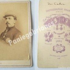 Fotografía antigua: CARLOS VII - DON CARLOS DE BORBÓN - FRANCK - CARLISMO – PRETENDIENTE REY CARLISTA - CDV. Lote 110118023