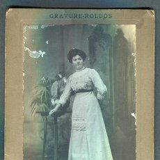 Fotografía antigua: MODERNISMO. RETRATO DE SEÑORA. F:J. ROLDÓS. BCN. C. 1895. Lote 110566235