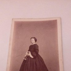Fotografía antigua: ALBUMINA CARTE VISITE FOTOGRAFIA DAMA, FOTOGRAFO J.LAURENT,MADRID FINALE S. XIX. Lote 111029431