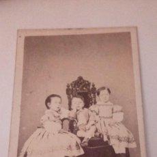 Fotografía antigua: ALBUMINA CARTE VISITE FOTOGRAFIA NIÑOS,PHOTOGRAPHIE A.FAURE, FINALE S. XIX. Lote 111033951