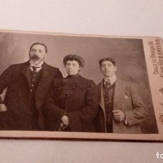 Fotografía antigua: ALBUMINA CARTE VISITE FOTOGRAFIA FAMILIAR,FOTOGRAFO DUCLOUX, SAN SEBASTIAN, FINALE S. XIX, 10X6 CM. Lote 111053795
