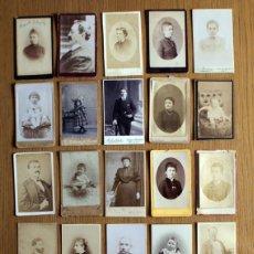 Fotografía antigua: LOTE 25 CDV / CARTES DE VISITE, NIÑOS, MUJERES, HOMBRES PUBLICIDAD FOTÓGRAFOS. Lote 111407883