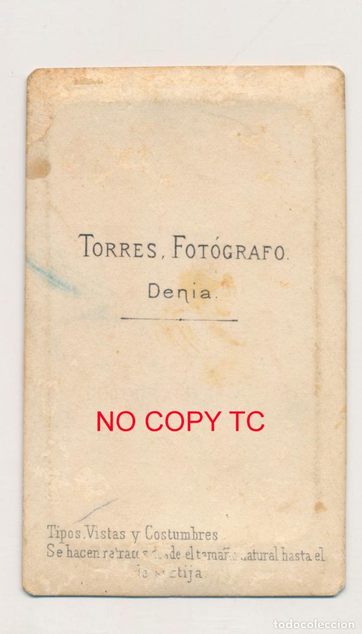 Fotografía antigua: FOTOGRAFÍA CDV TARJETA DE VISITA ALICANTE DENIA VALENCIA FOTÓGRAFO TORRES - Foto 2 - 150849869