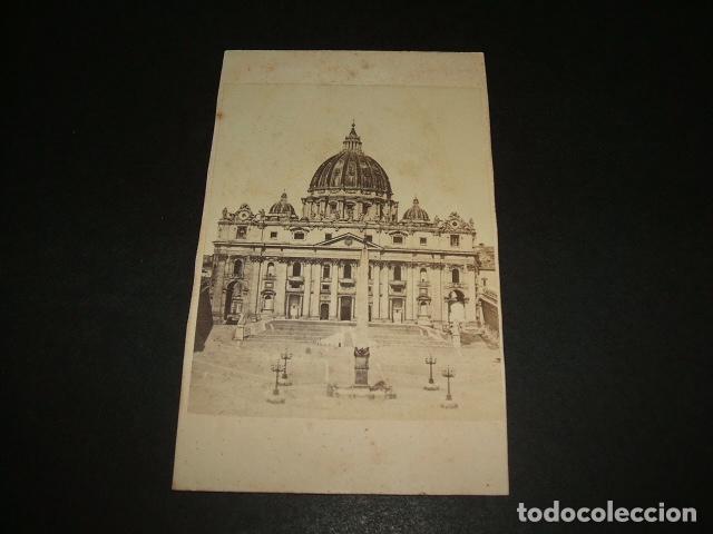 ROMA VATICANO ITALIA CARTE DE VISITE FACHADA SAN PEDRO HACIA 1860 1870 Fotografia