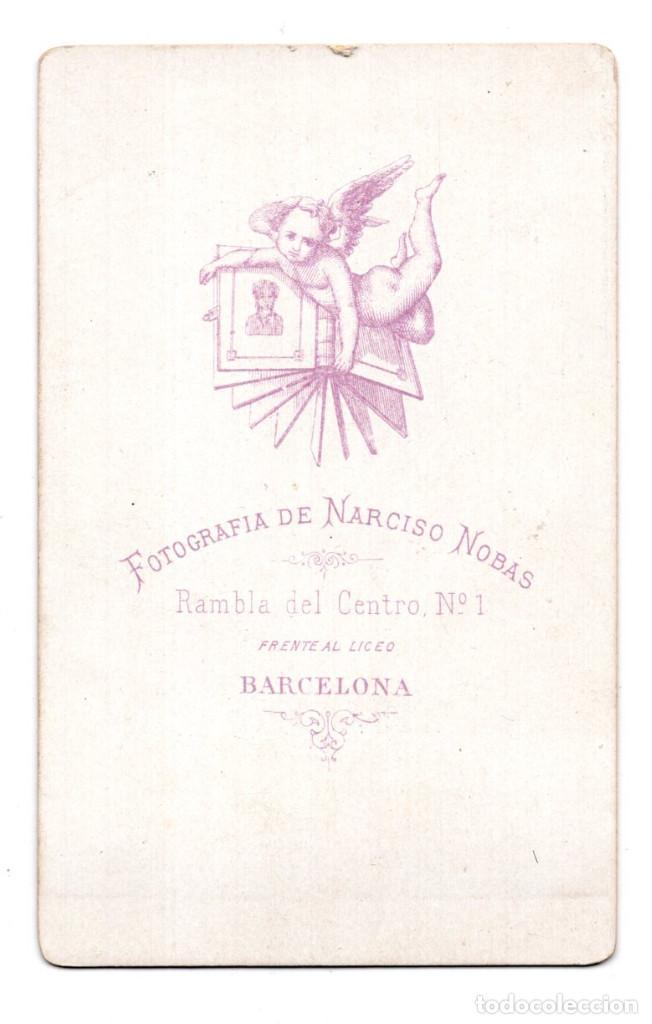 Fotografía antigua: FOTOGRAFÍA CARTES DE VISITE S.XIX, ESTUDIO FOTOGRÁFICO NARCISO NOBAS - BARCELONA - Foto 2 - 116717723