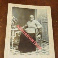 Fotografía antigua: SEVILLA, SIGLO XIX, CDV DE UNA SEÑORA SEVILLANA, FOT. SANZ, 110X165MM. Lote 118884323