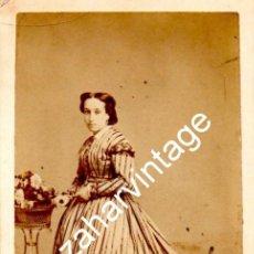 Fotografía antigua: MADRID, SIGLO XIX, CDV DE SATURNINA ALONSO Y ORTEGA, FOT.E.JULIA, 62X105MM. Lote 122606055