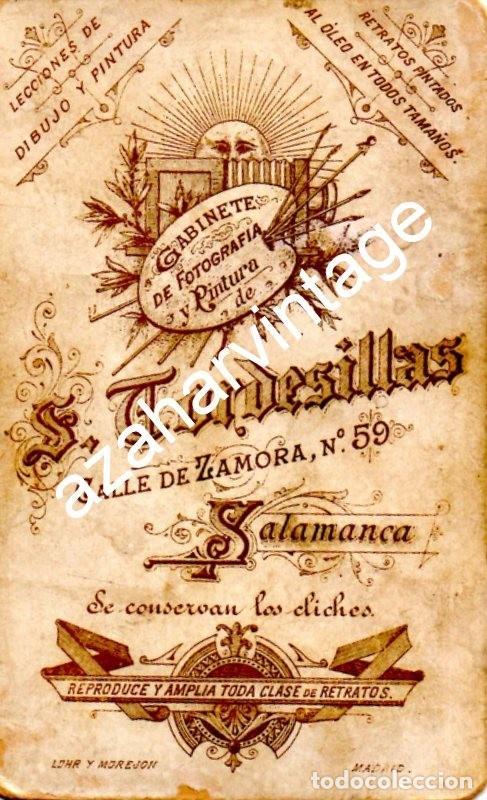 Fotografía antigua: SALAMANCA, SIGLO XIX, CDV DE ALFREDO ALONSO GARCIA SERRANO, FOT.TORDESILLA, 62X105MM - Foto 2 - 124389807