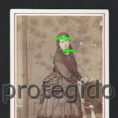 Fotografía antigua: DÑA. MANUELA SUELVES. ZARAGOZA. SIGLO XIX. CDV. M. JUDEZ. COSO, 33. ZARAGOZA. BDLL. Lote 125014467