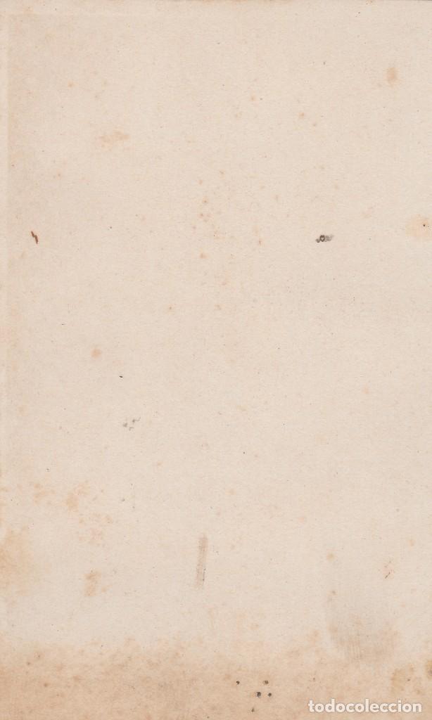 Fotografía antigua: Antigua Carta de Visita. Retrato mujer con bonito vestido estampado y lazo. Siglo XIX. Anónima. fr - Foto 2 - 125300151
