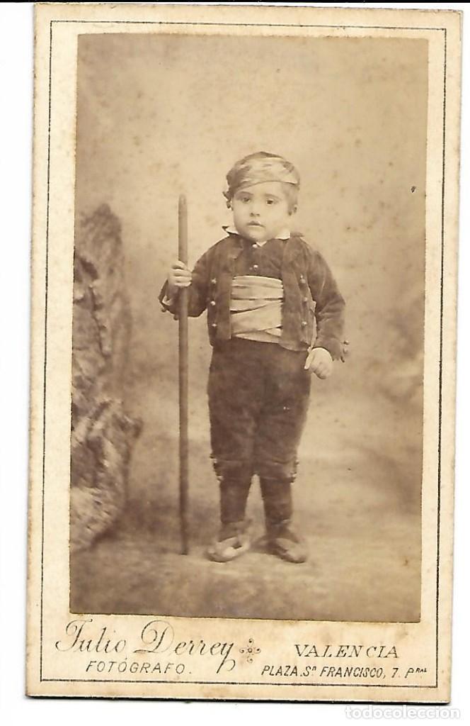 1885 CA FOTOGRAFÍA ALBUMINA CARTE DE VISITE CDV 77X126MM FOTÓGRAFO JULIO DERREY (VALENCIA) (Fotografía Antigua - Cartes de Visite)