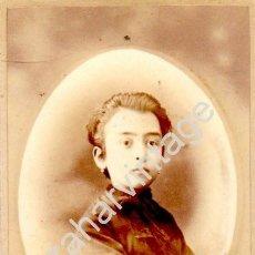 Fotografía antigua: VALLADOLID, SIGLO XIX, CDV DE AMELIA FERNANDEZ-CAVADA, FOTO. A.EGUREN, 60X105MM. Lote 125845263