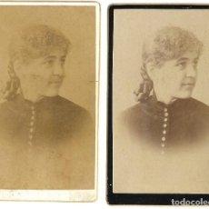 Fotografía antigua: 1880CA LOTE 2 FOTOGRAFÍAS ALBUMINA CDV CARTE VISITEFOTÓGRAFO FCO. DE MIGUEL (ALBAIDA - VALENCIA). Lote 127144859