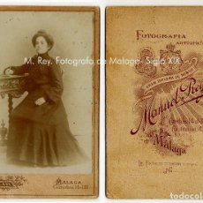 Fotografía antigua: M. REY FOTÓGRAFO DE MÁLAGA. SIGLO XIX. 13 X 8,5 CM.. Lote 131100344
