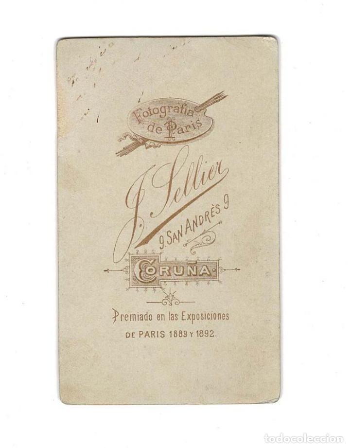 Fotografía antigua: CARTES DE VISITE.- .La Coruña Estudio fotográfico de Sellier - Foto 2 - 131869706