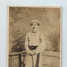 Fotografía antigua: MILITAR VOLUNTARIO GUERRA DE CUBA, GONZALO CASTAÑÓN, FUNDADOR DE LA VOZ DE CUBA. ASESINADO.. Lote 132568662
