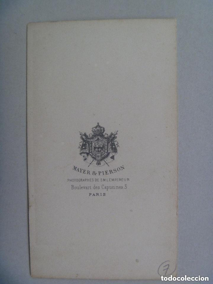 Fotografía antigua: CDV DE LA EMPERATRIZ DE FRANCIA EUGENIA DE MONTIJO, SIGLO XIX . DE MAYER & PIERSON, PARIS - Foto 2 - 133160090