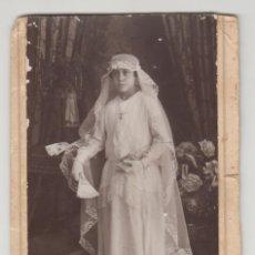 Fotografía antigua: ANTIGUA FOTOGRAFÍA,CDV,CARTA DE VISITA, J. DERREY, VALENCIA, NIÑA CON TRAJE COMUNIÓN. Lote 135729106