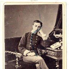 Fotografía antigua: FOTO NAPOLEON -BARCELONA RETRATO HOMBRE MILITAR C.D.V. CON BELLO REVERSO. Lote 137839934