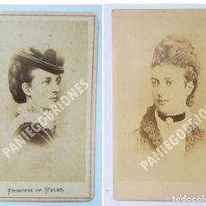 Fotografía antigua: 2 CDV DE ALEJANDRA DE DINAMARCA, PRINCESA DE GALES, REINA DE INGLATERRA COMO ESPOSA DE EDUARDO VII. Lote 139650382