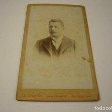 Fotografía antigua: FOTO DE CABALLERO A IDENTIFICAR, J.MORENO , SAN SEBASTIAN . SIGLO XIX 10 X 6 CM.. Lote 140164038