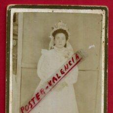 Fotografía antigua: FOTOGRAFIA TARJETA CARTA DE VISITA , NIÑA COMUNION , ORIGINAL ,TV2494. Lote 140501662