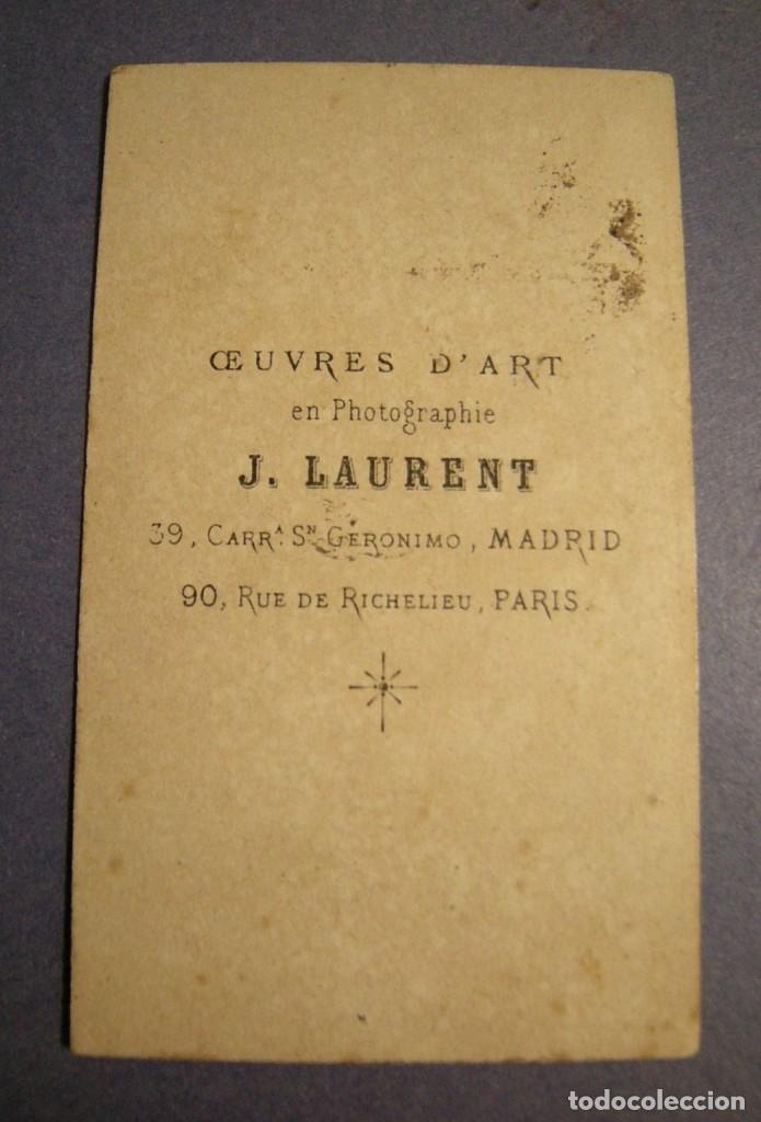 Fotografía antigua: CARTA DE VISITA J. LAURENT MADRID-PARIS ESTADO EL DE LAS FOTOS - Foto 2 - 140800498