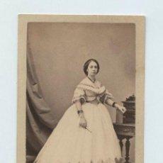Fotografía antigua: RETRATO CDV DE DAMA, NOMBRE REVERSO, AÑO 1865. FOTO: FREDRICKS, HABANA, CUBA.. Lote 140809490