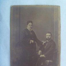 Fotografía antigua: CDV DE PAREJA ESPAÑOLA DEL SIGLO XIX.. Lote 140895782