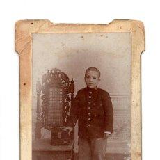 Fotografía antigua: CARTES DE VISITE. ESTUDIO FOTOGRÁFICO. LOPEZ Y ARIZA. MADRID - MILITAR - SOLDADO CADETE. Lote 140902802