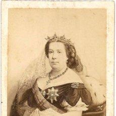 Fotografía antigua: 1860-65CA CA FOTOGRAFÍA RETRATO REINA ISABEL II ALBUMINA CDV 60X105MM FOTÓGRAFO E. NEURDEIN PARIS. Lote 145837678