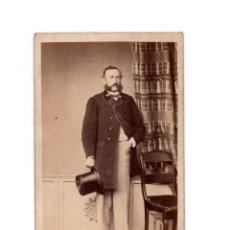 Fotografía antigua: CARTES DE VISITE. ESTUDIO FOTOGRÁFICO. DESCONOCIDO CON DEDICATORIA DETRAS 1866. Lote 146308438