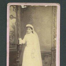 Fotografía antigua: PRIMERA COMUNIÓN. PRECIOSA FOTO DE NIÑA. F: R. EROLES. BCN. C. 1890. Lote 146891334