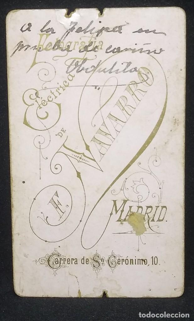 Fotografía antigua: Carte Visite bebé Fotógrafo F. Navarro. Madrid 10,5 x 6,8 cm. - Foto 3 - 147988354