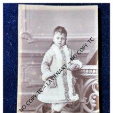 Fotografía antigua: CDV - CARTE DE VISITE - CARTA DE VISITA - SIN FOTÓGRAFO - PRECIOSA FOTO NIÑA. Lote 148858038