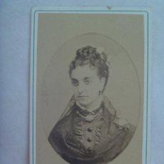 Fotografía antigua: CDV DE SEÑORA ESPAÑOLA DEL SIGLO XIX.. Lote 150592362