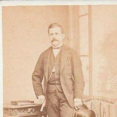 Fotografía antigua: MAGNÍFICA CARTA DE VISITA CDV CABALLERO BASTÓN Y CHISTERA, ANTONIO GARCÍA, VALENCIA 1873 AA. Lote 152122854