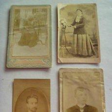 Fotografía antigua: LOTE DE 4 CDV DE SEÑORAS Y CABALLEROS DEL SIGLO XIX.. Lote 152169298