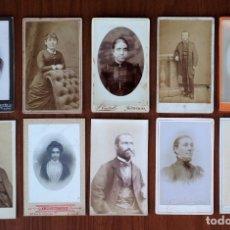 Fotografía antigua: LOTE 10 CDV / CARTES DE VISITE, MUJERES, HOMBRES, PUBLICIDAD FOTÓGRAFOS. Lote 154527598