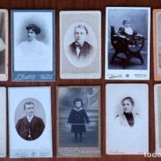 Fotografía antigua: LOTE 10 CDV / CARTES DE VISITE, MUJERES, HOMBRES, NIÑOS, PUBLICIDAD FOTÓGRAFOS. Lote 154529946