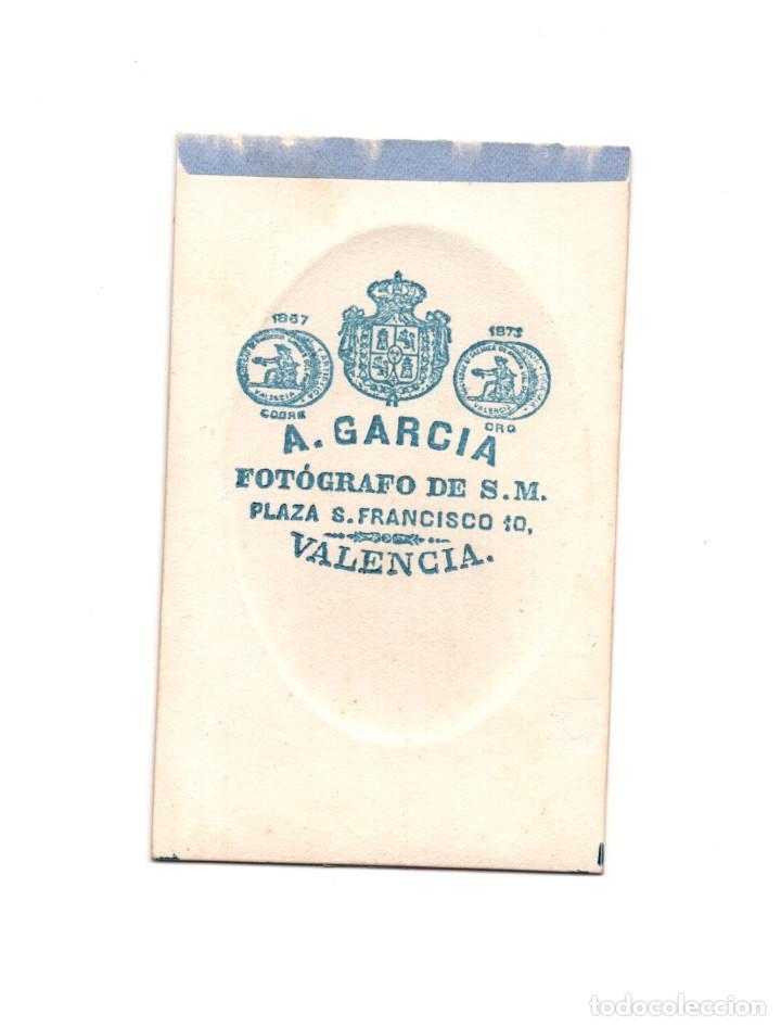 Fotografía antigua: CARTES DE VISITE. ESTUDIO FOTOGRÁFICO. A. GARCÍA, VALENCIA - Foto 2 - 154868834