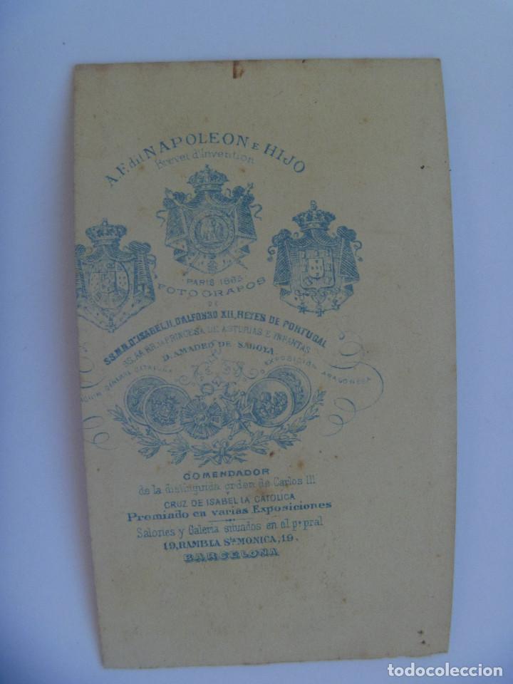 Fotografía antigua: CDV DE SEÑOR DEL SIGLO XIX. DE NAPOLEON , BARCELONA, FOTOGRAFO DEL REY ALFONSO XII Y AMADEO SABOYA - Foto 2 - 155308434
