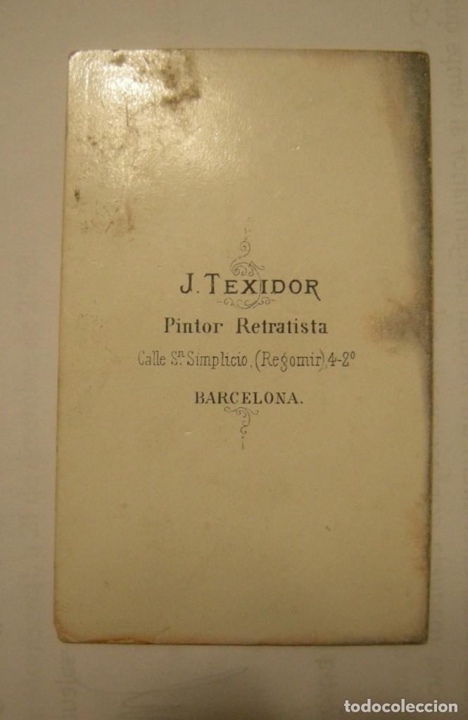 Fotografía antigua: CARTA DE VISITA JOSE TEXIDOR DE BARCELONA - Foto 2 - 155317530