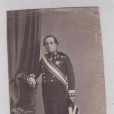 Fotografía antigua: ALBÚMINA TARJETA DE VISITA. MILITAR GENERAL MINISTRO DE FOMENTO LUJAN ??. SIN MONTAR EN CARTON.. Lote 155738350