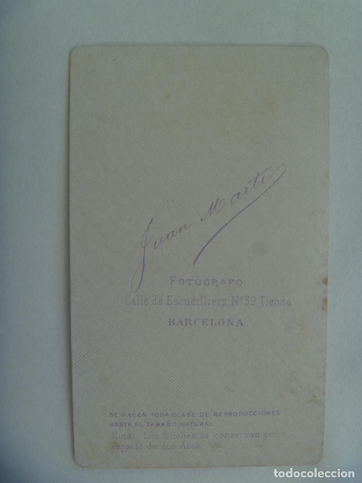 Fotografía antigua: CDV DE SEÑOR DEL SIGLO XIX . DE JUAN MARTÍ , BARCELONA - Foto 2 - 157007230